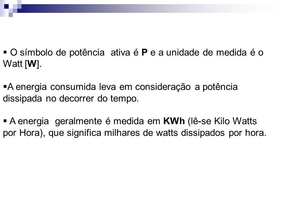 O símbolo de potência ativa é P e a unidade de medida é o Watt [W].